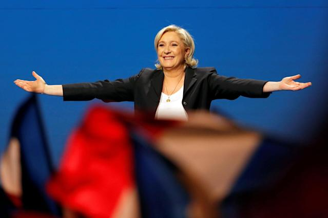 <p>Marine Le Pen, French National Front (FN) candidate for 2017 presidential election, attends a campaign rally in Villepinte, near Paris, France, May 1, 2017. (Charles Platiau/Reuters) </p>