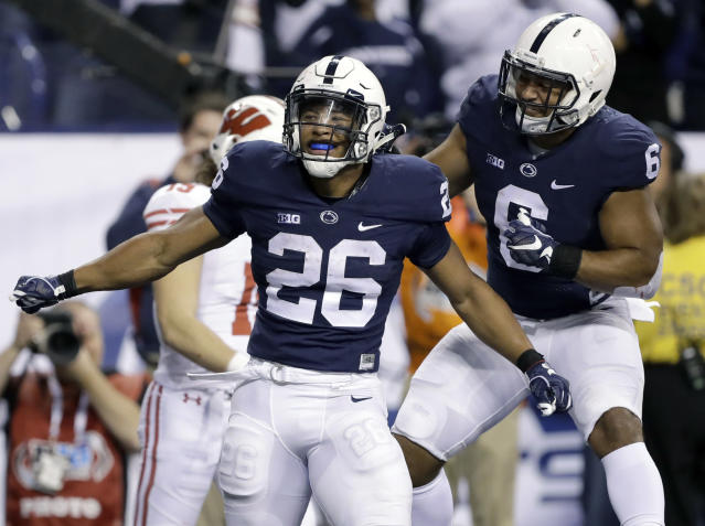 Penn State's Saquon Barkley (26) is a Heisman candidate. (AP Photo/Michael Conroy, File)