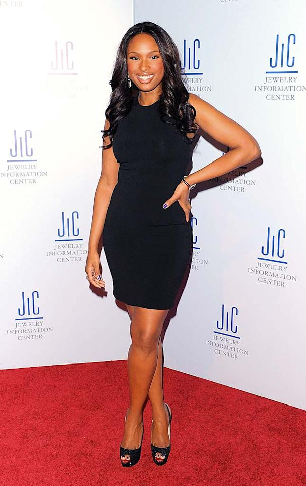 """But Blake wasn't the only beauty causing a commotion in the Big Apple. Jennifer Hudson (aka The Incredible Shrinking Woman) showed off her fab new frame in a LBD (courtesy of the late, great Alexander McQueen) and sparkly Christian Louboutin slingbacks at the 9th Annual GEM Awards. Andrew H. Walker/<a href=""""http://www.gettyimages.com/"""" target=""""new"""">GettyImages.com</a> - January 7, 2011"""