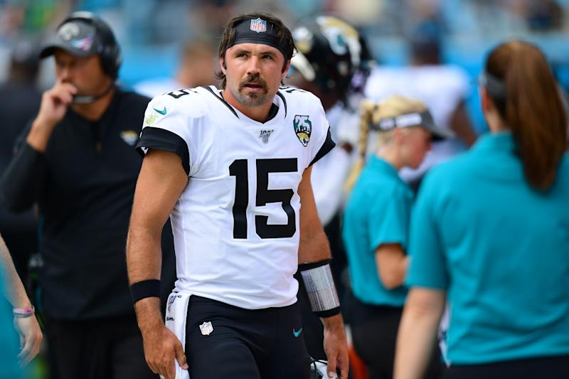 CHARLOTTE, NORTH CAROLINA - OCTOBER 06: Gardner Minshew #15 of the Jacksonville Jaguars during the first half of their game against the Carolina Panthers at Bank of America Stadium on October 06, 2019 in Charlotte, North Carolina. (Photo by Jacob Kupferman/Getty Images)