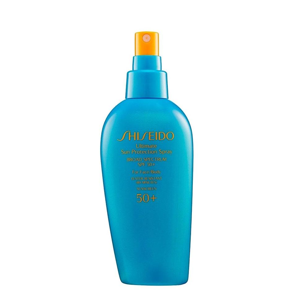 """If you're searching for a versatile sunscreen mist, Shiseido Ultimate Sun Protection Spray is it. The extremely lightweight formula isn't the least bit heavy and does not sit on the skin, absorbing within seconds of application. Personally, I keep a bottle of it in my purse for reapplication on my body, face, and scalp when I'm out and about. $40, Sephora. <a href=""""https://shop-links.co/1740457974174789637"""" rel=""""nofollow noopener"""" target=""""_blank"""" data-ylk=""""slk:Get it now!"""" class=""""link rapid-noclick-resp"""">Get it now!</a>"""