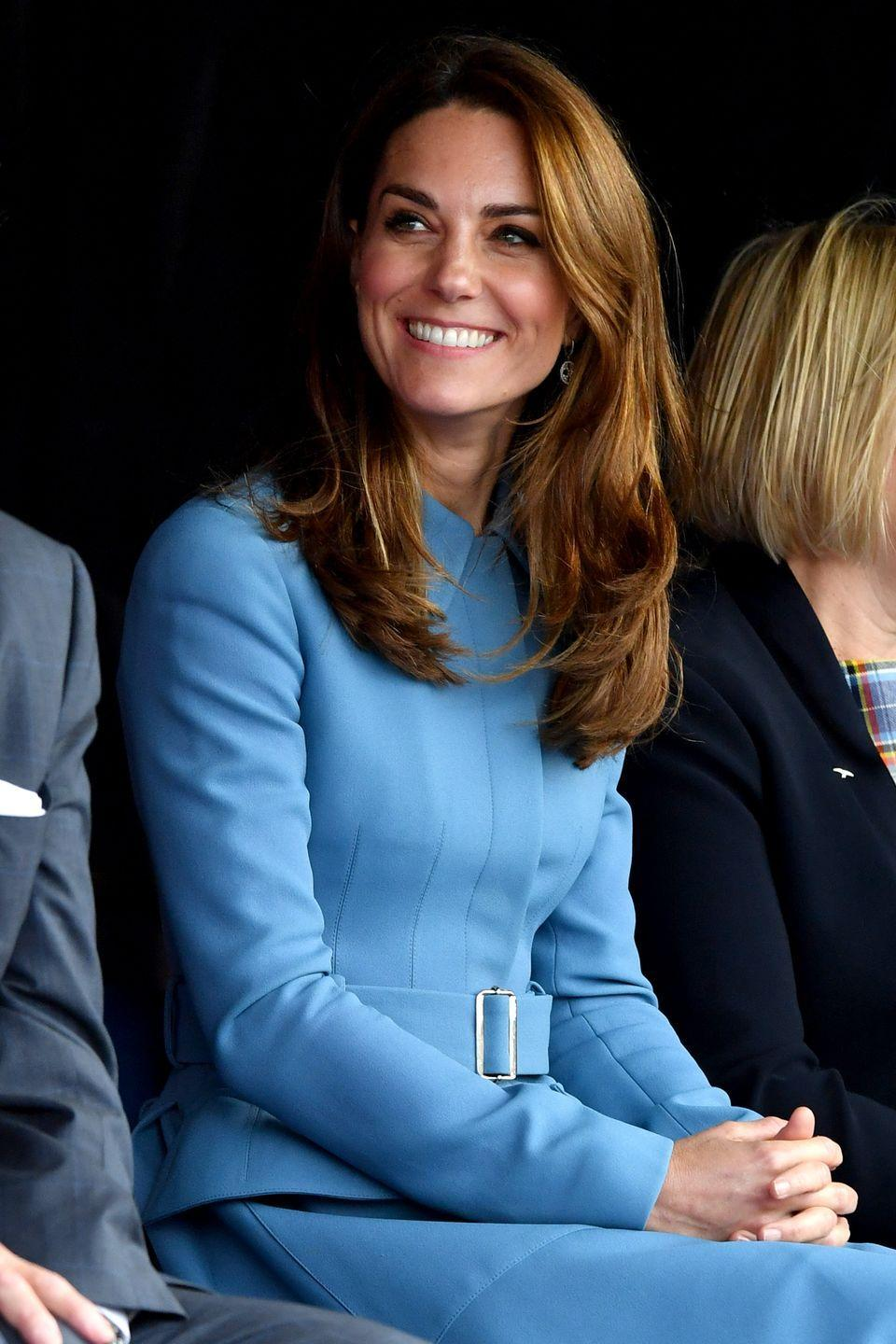<p>To attend the naming ceremony for the RSS Sir David Attenborough ship in Birkenhead, Kate chose to recycle this periwinkle blue coat by Alexander McQueen. </p>