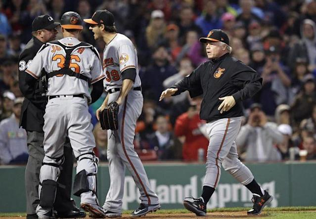 """Orioles manager Buck Showalter rushes to home plate after starting pitcher <a class=""""link rapid-noclick-resp"""" href=""""/mlb/players/9334/"""" data-ylk=""""slk:Kevin Gausman"""">Kevin Gausman</a> was ejected for hitting <a class=""""link rapid-noclick-resp"""" href=""""/mlb/players/9319/"""" data-ylk=""""slk:Xander Bogaerts"""">Xander Bogaerts</a> with a pitch. (AP)"""