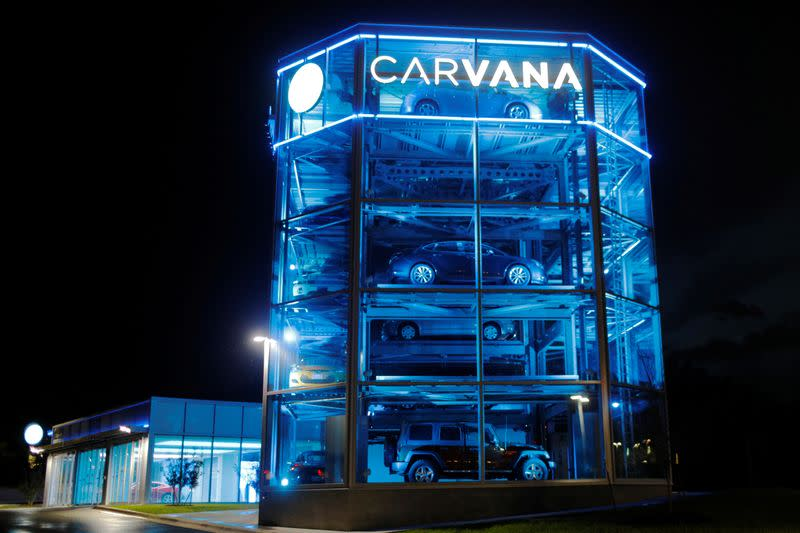 FILE PHOTO: Vehicles are displayed at a Carvana dealership in Austin