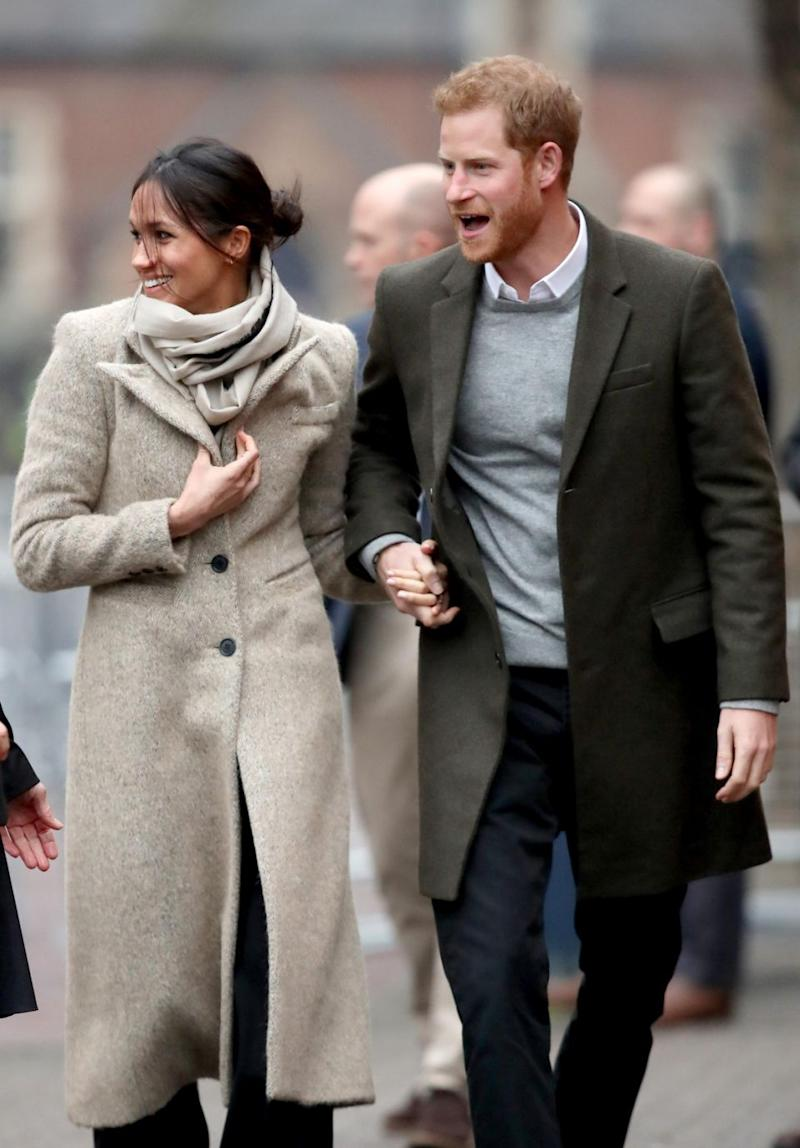 Meghan and Harry stepped out to greet crowds at their first public event of the year. Photo: Getty