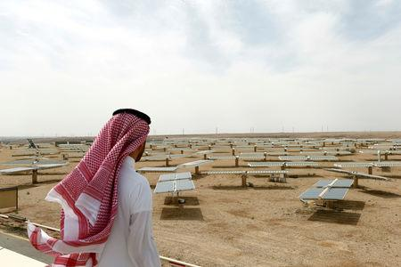 FILE PHOTO: Saudi man looks at the solar plant in Uyayna, north of Riyadh, Saudi Arabia April 10, 2018. Picture taken April 10, 2018. REUTERS/Faisal Al Nasser/File Photo