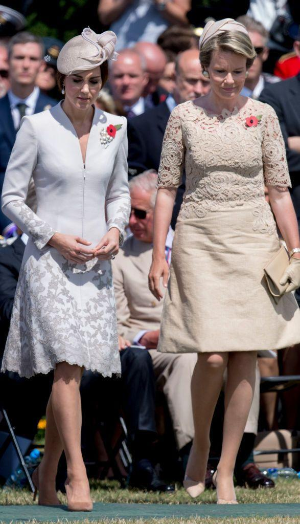 <p>The Duchess attended the Tyne Cot Commonwealth War Graves Cemetery to commemorate the 100th anniversary of the Battle of Passchendaele. For the event, she donned a long-sleeved, Catherine Walker coatdress with silver beading at the hem.</p>