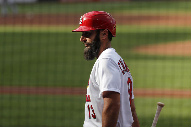St. Louis Cardinals' Matt Carpenter walks out of the dugout during an intrasquad practice baseball game at Busch Stadium Thursday, July 9, 2020, in St. Louis. (AP Photo/Jeff Roberson)