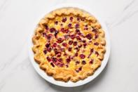 """Chess pie is popular in the American South, though it's said to have originated in England, just like Martin Frobisher. This pie recipe leaves history behind, though: while some versions rely on tangy buttermilk to offset the rich custard, this dessert uses lemon juice and barely cooked cranberries instead. <a href=""""https://www.epicurious.com/recipes/food/views/cranberry-chess-pie?mbid=synd_yahoo_rss"""" rel=""""nofollow noopener"""" target=""""_blank"""" data-ylk=""""slk:See recipe."""" class=""""link rapid-noclick-resp"""">See recipe.</a>"""