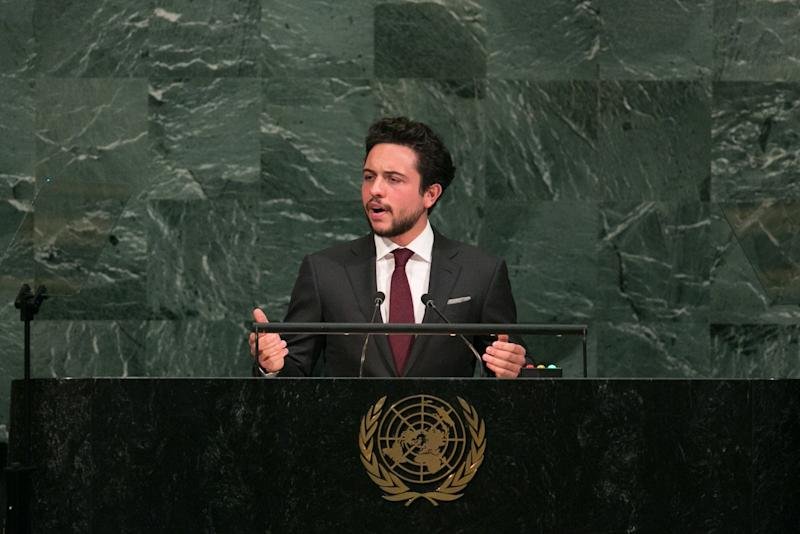 NEW YORK, NY - SEPTEMBER 21: Jordan's Crown Prince Al Hussein bin Abdullah II addresses the U.N. General Assembly at the United Nations on September 21, 2017 in New York, New York. (Photo by Kevin Hagen/Getty Images)