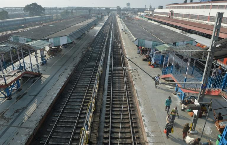 Empty tracks are pictured at New Jalpaiguri Railway station in West Bengal after several trains were cancelled because of protests against India's new citizenship law (AFP Photo/DIPTENDU DUTTA)