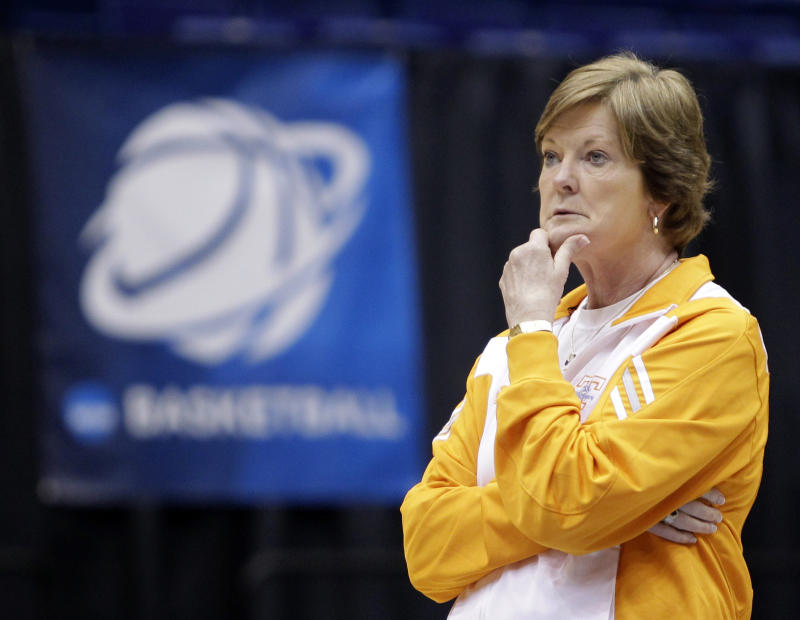 FILE - In this March 25, 2011 file photo, Tennessee head coach Pat Summitt watches practice for an NCAA women's college basketball tournament regional semifinal, in Dayton, Ohio.  The women's basketball season begins Friday for 14 of the preseason Top 25. Tennessee is the sentimental choice this season, but Pat Summitt wants her 38th year with the Lady Vols to be about her team, not her public battle with dementia.  (AP Photo/Al Behrman, File)