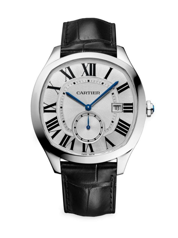 """<p><strong>Cartier</strong></p><p>saksfifthavenue.com</p><p><strong>$6500.00</strong></p><p><a href=""""https://go.redirectingat.com?id=74968X1596630&url=https%3A%2F%2Fwww.saksfifthavenue.com%2Fcartier-drive-de-cartier-stainless-steel-alligator-strap-watch%2Fproduct%2F0400090124087&sref=https%3A%2F%2Fwww.townandcountrymag.com%2Fstyle%2Fjewelry-and-watches%2Fg14418271%2Fbest-mens-luxury-watches%2F"""" rel=""""nofollow noopener"""" target=""""_blank"""" data-ylk=""""slk:Shop Now"""" class=""""link rapid-noclick-resp"""">Shop Now</a></p><p>Neither square nor circular, Cartier refers to the shape of their self-winding, steel-cased watch as """"cushion-shaped."""" It utilizes their in-house caliber 1904-PS movement with blued steel hands and a small seconds counter. </p><p>Case size: 40mm</p>"""
