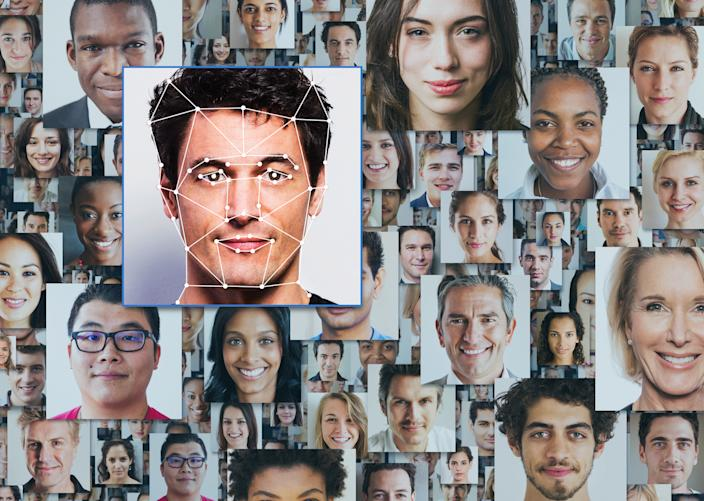 Many portraits of diverse people, one standing out from the crowd
