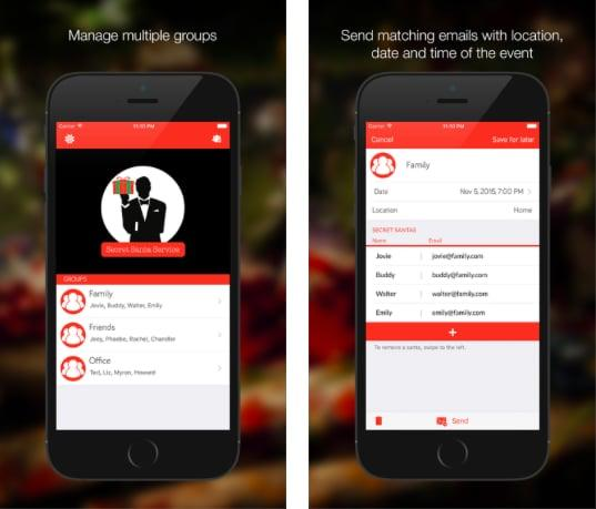 """<p><a rel=""""nofollow"""" href=""""http://www.secretsantaservicehq.com"""">Secret Santa Service: A Secret Santa Match Generator</a> offers a sleek and user-friendly design that allows you distribute assignments without accidentally picking yourself (or having someone get left out!). This app also gives you the option of upgrading to the elite version for five or more participants to take part. </p> <p><em>Available for iOS</em></p>"""