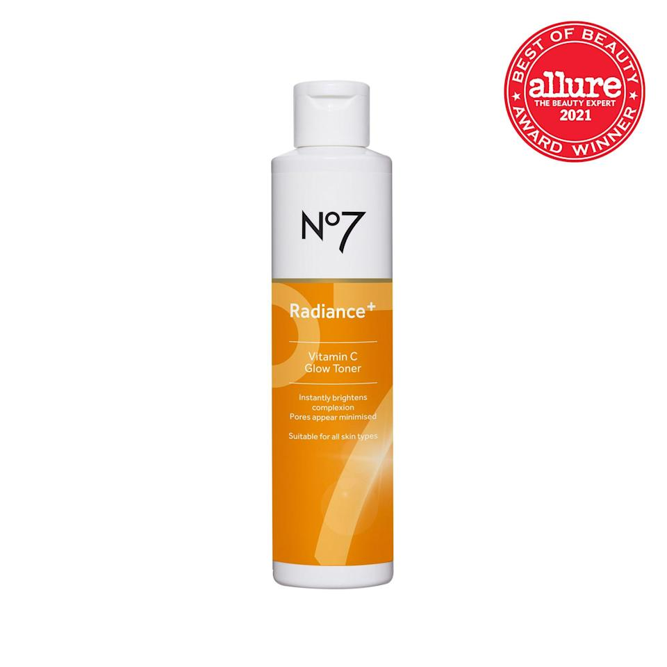 """With a <a href=""""https://www.allure.com/gallery/best-toner-for-every-skin-type?mbid=synd_yahoo_rss"""" rel=""""nofollow noopener"""" target=""""_blank"""" data-ylk=""""slk:water-based formula"""" class=""""link rapid-noclick-resp"""">water-based formula</a>, a no-joke dose of vitamin C, and fruit acids, <strong>No7 Radiance+ Vitamin C Glow Toner</strong> imparts instant gleamy-ness."""