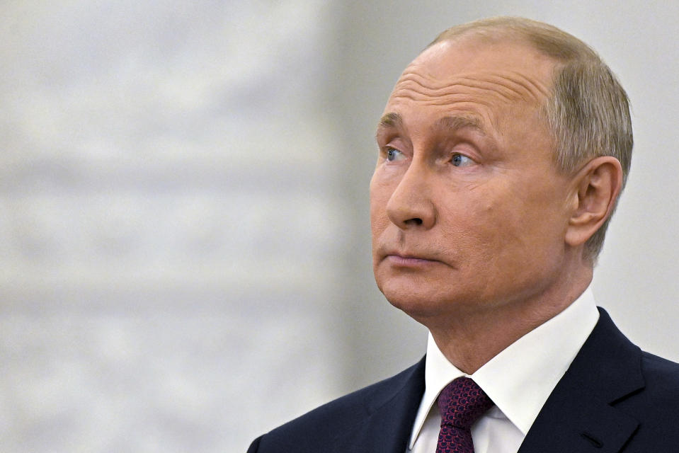 Russian President Vladimir Putin speaks while marking Day of Russia at the Grand Kremlin Palace in Moscow, Russia, Saturday, June 12, 2021. Since 1992, Russia Day is annually celebrated on 12 June as the Russian Federation's national holiday. (Yevgeny Odinokov, Sputnik, Kremlin Pool Photo via AP)