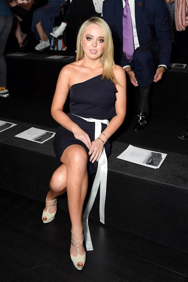 <p>Tiffany Trump attends the Taoray Wang fashion show during New York Fashion Week: The Shows at Gallery 1, Skylight Clarkson Sq on September 9, 2017 in New York City. (Photo by Nicholas Hunt/Getty Images For NYFW: The Shows) </p>