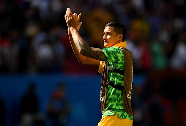 <p>Tim Cahill thanks the Socceroos supporters after the cruel defeat </p>