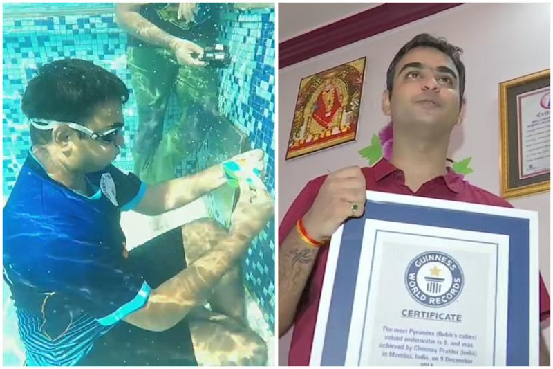 Mumbai Youth Solves Nine Pyraminxe Puzzles Underwater, Creates New Guinness World Record