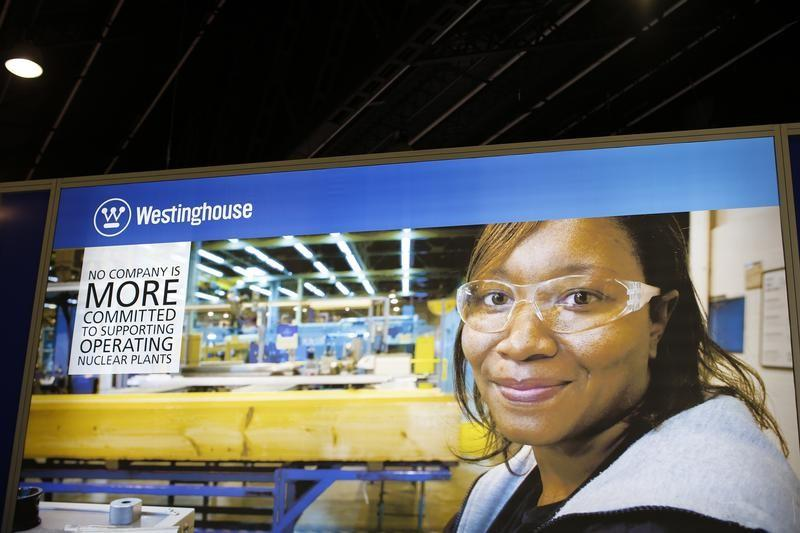 The logo of the American company Westinghouse is pictured at the World Nuclear Exhibition 2014 in Le Bourget