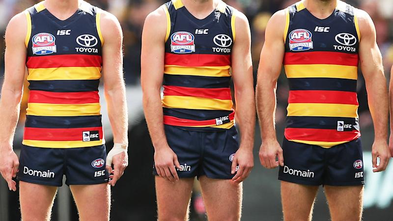 Adelaide Crows players, pictured here before the 2017 AFL Grand Final.