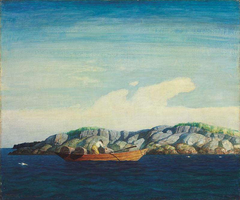 "This image provided by Christie's auction house shows Newell Convers Wyeth's painting titled ""Norry Seavey Hauling Traps off Blubber Island,"" among thirteen paintings by the famous Wyeth family of artists that have sold for just over $2 million at auction in New York, Thursday, May 23, 2013.  (AP Photo/Christie's)"