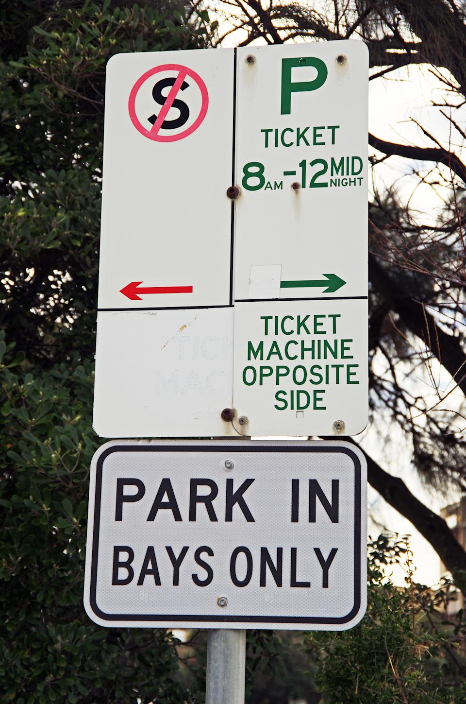 Pictured is a confusing parking sign.