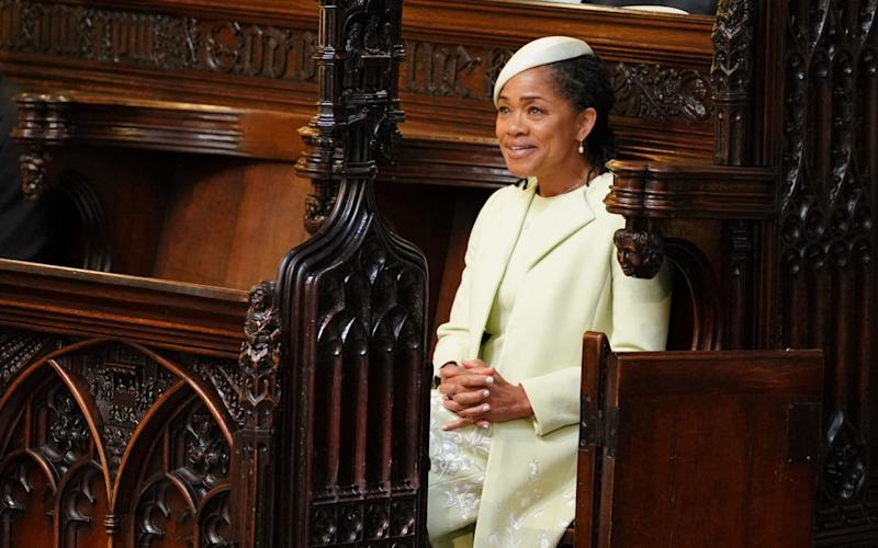 Doria Ragland takes her seat in St George's Chapel at Windsor Castle - PA