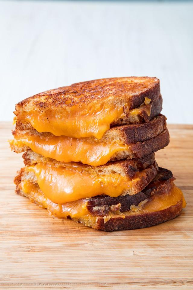 """<p>It's all about the crust. </p><p>Get the recipe from <a rel=""""nofollow"""" href=""""https://www.delish.com/cooking/recipe-ideas/a19610233/how-to-make-best-grilled-cheese/"""">Delish</a>.</p><p><a rel=""""nofollow"""" href=""""https://www.amazon.com/Calphalon-1937309-Classic-Nonstick-Omelet/dp/B01CY3N2IM"""">BUY NOW</a> Nonstick Skillet, $18.70<br></p>"""