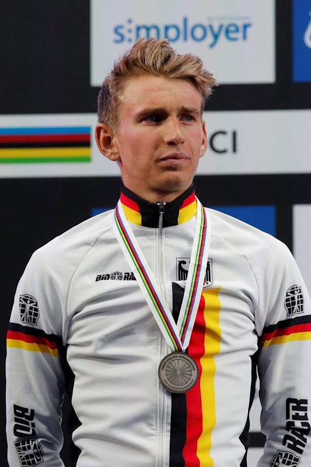 Silver medalist Lennard Kamna from Germany on the podium after UCI Cycling Road World Championships Men Under 23 in Bergen, Norway September 22, 2017. NTB Scanpix/Cornelius Poppe via REUTERS ATTENTION EDITORS - THIS IMAGE WAS PROVIDED BY A THIRD PARTY. NORWAY OUT. NO COMMERCIAL OR EDITORIAL SALES IN NORWAY. NO COMMERCIAL SALES.