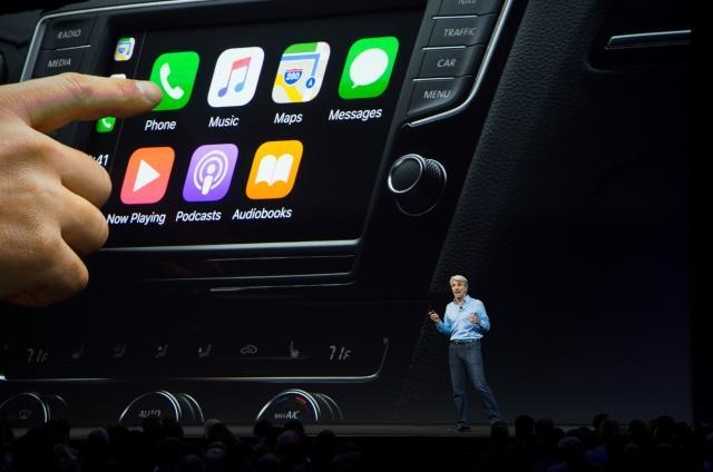 Apple's Senior Vice President of Software Engineering Craig Federighi speaks about CarPlay on stage during Apple's World Wide Developers Conference in San Jose, California on June 05, 2017. / AFP PHOTO / Josh Edelson        (Photo credit should read JOSH EDELSON/AFP/Getty Images)