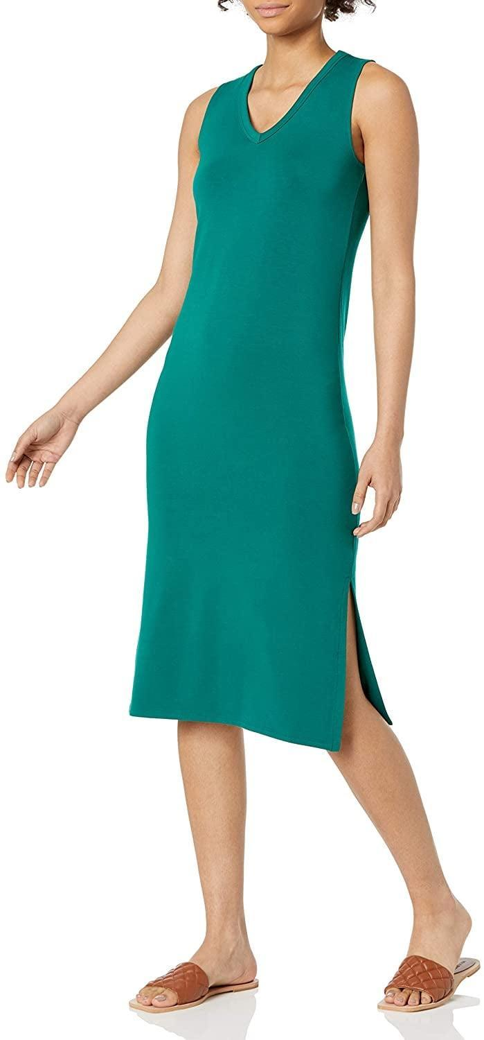 <p>There's something about the silhouette of this <span>Daily Ritual Supersoft Terry Relaxed-Fit Sleeveless V-Neck Midi Dress</span> ($23-$30) that makes it casual yet very chic. You can either dress it down with slide sandals or up with strappy heels.</p>