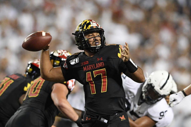 Maryland quarterback Josh Jackson passes during the first half of an NCAA college football game against Penn State, Friday, Sept. 27, 2019, in College Park, Md. (AP Photo/Nick Wass)