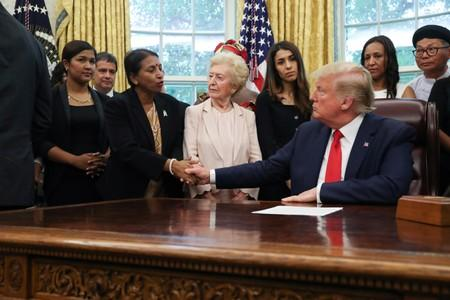 U.S. President Trump meets with victims of religious persecution at the White House in Washington