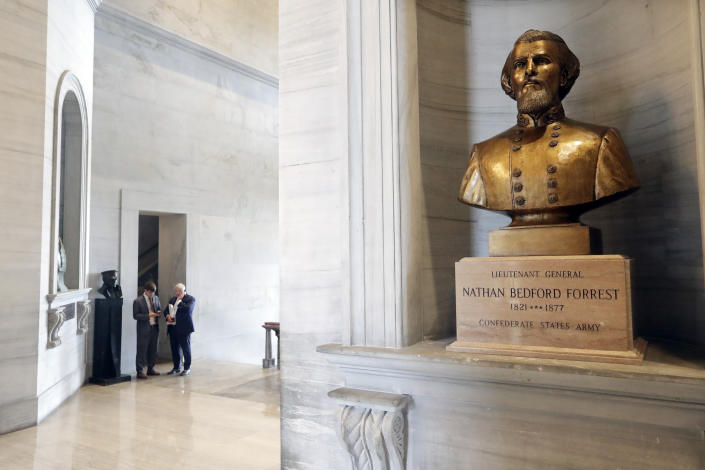 A bust of Nathan Bedford Forrest