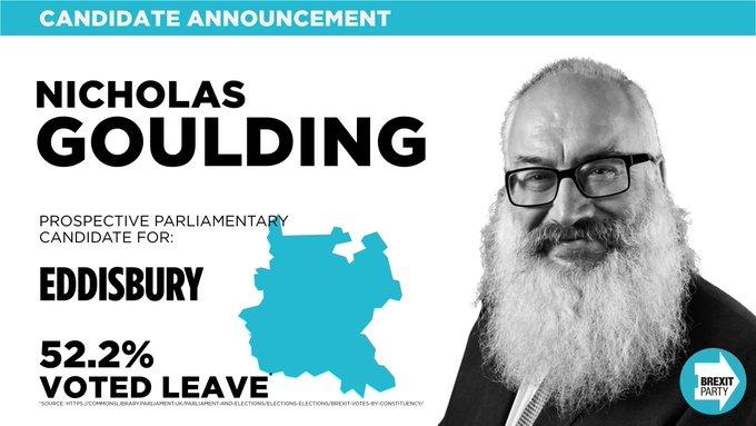 Mr Goulding is standing for Eddisbury in the forthcoming General Election (TWITTER/BREXITPARTY_UK)