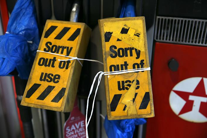 LONDON, ENGLAND - SEPTEMBER 29: An outside view of a petrol station which is run out of fuel in London, United Kingdom on September 29, 2021. The UK has seen long queues formed in front of gas stations after the oil and petrol giant BP and Tesco Alliance announced that a