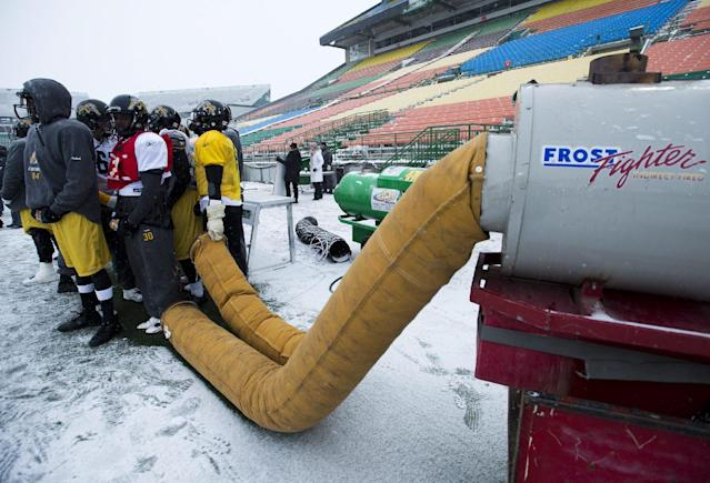 Hamilton Tiger-Cats players warm up as they take part in practice in Regina, Saskatchewan, Wednesday Nov. 20, 2013. Hamilton and the Saskatchewan Roughriders will face off in the 101st Grey Cup on Sunday. (AP Photo/The Canadian Press, Paul Chiasson)