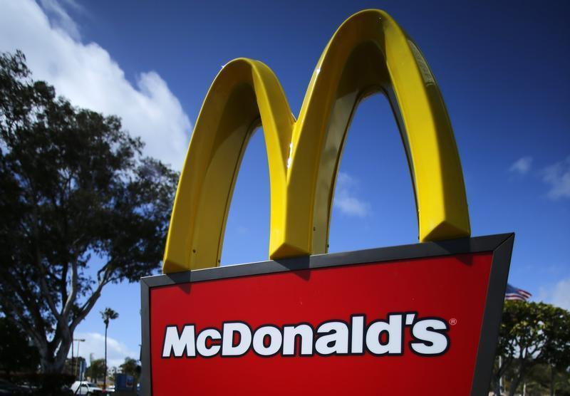 A McDonald's restaurant sign is seen at a McDonald's restaurant in Del Mar, California