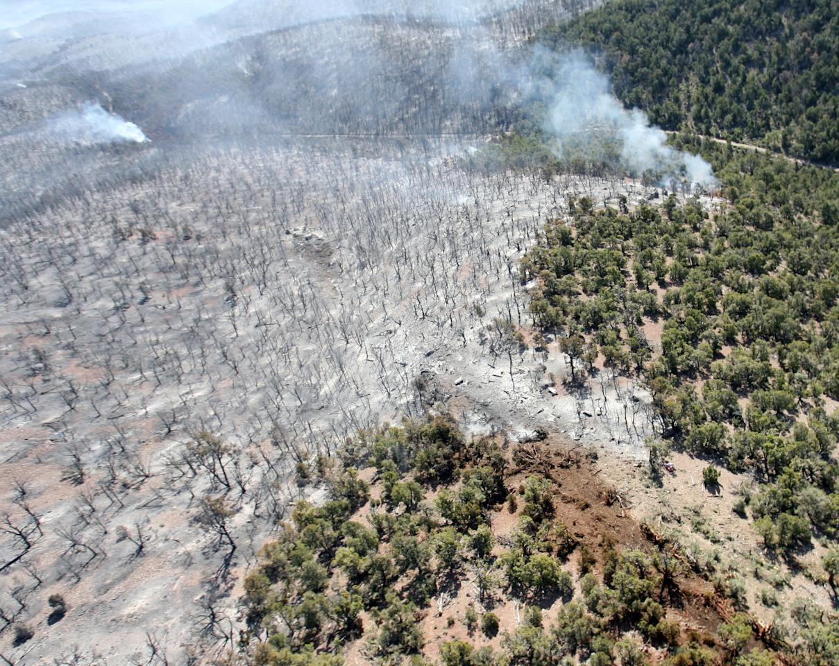 The crash scene of a heavy air tanker is seen from the air Monday, June 4, 2012 near Hamblin Valley Utah. The P2v Heavy air tanker crashed Sunday afternoon, June 3, as it dropped retardant on a 5,000-acre wildfire, killing pilots Todd Neal Tompkins and Ronnie Edwin Chambless, both of Boise, Idaho.  (AP Photo/The Deseret News, Scott G. Winterton)
