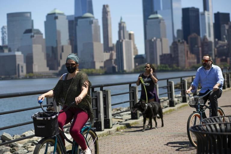People visit Liberty State Park in Jersey City, New Jersey, on May 2, 2020