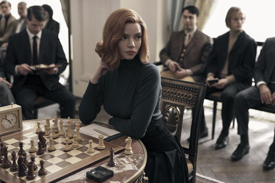 """<p>Anya Taylor-Joy stars in this drama - which is set during the Cold War era and based on Walter Tevis's novel of the same name - as an orphaned chess prodigy who aspires to become the greatest chess player in the world. </p> <p><a href=""""https://www.netflix.com/search?q=miniseries&amp;jbv=80234304"""" class=""""link rapid-noclick-resp"""" rel=""""nofollow noopener"""" target=""""_blank"""" data-ylk=""""slk:Watch The Queen's Gambit on Netflix now."""">Watch <strong>The Queen's Gambit</strong> on Netflix now.</a></p>"""