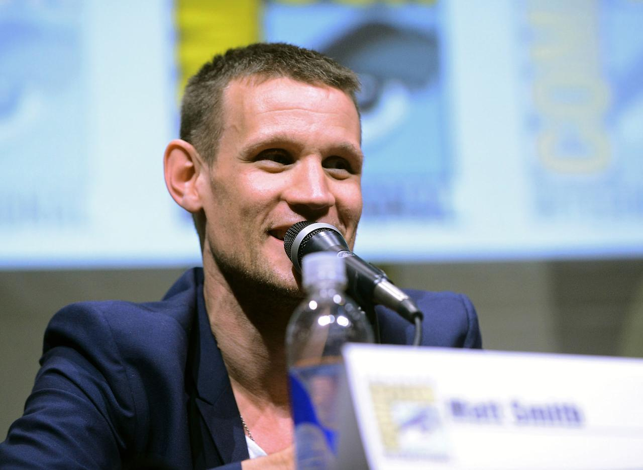 "Matt Smith speaks onstage at BBC America's ""Doctor Who"" 50th Anniversary panel during Comic-Con International 2013 at San Diego Convention Center on July 21, 2013 in San Diego, California."