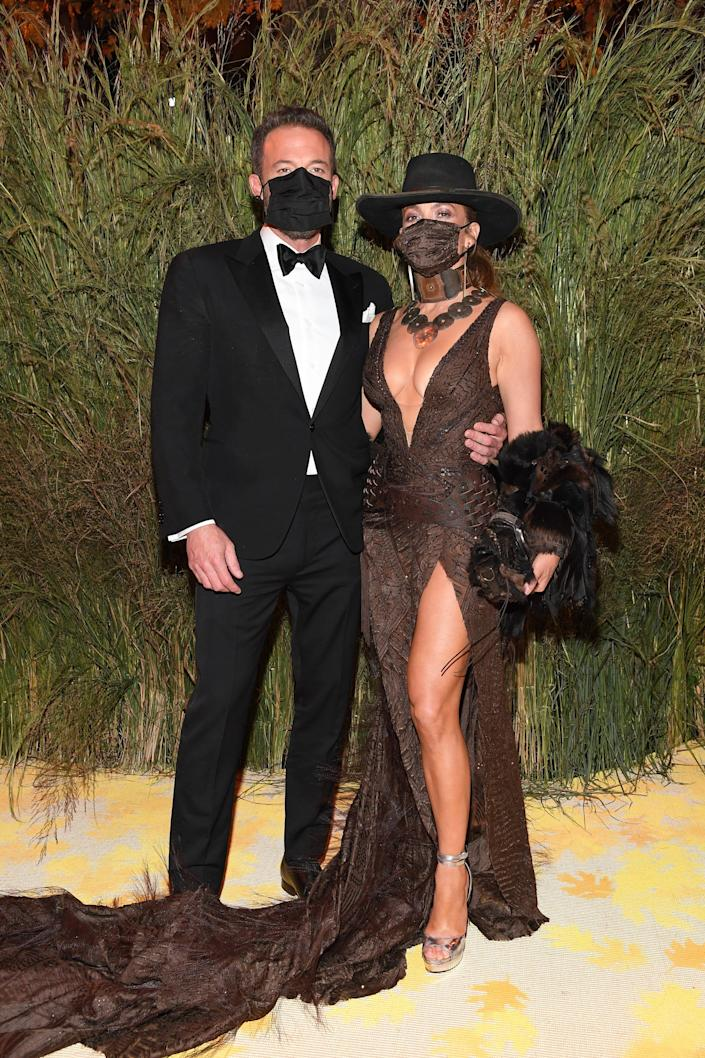 Ben Affleck and Jennifer Lopez attend the The 2021 Met Gala Celebrating In America: A Lexicon Of Fashion at Metropolitan Museum of Art.