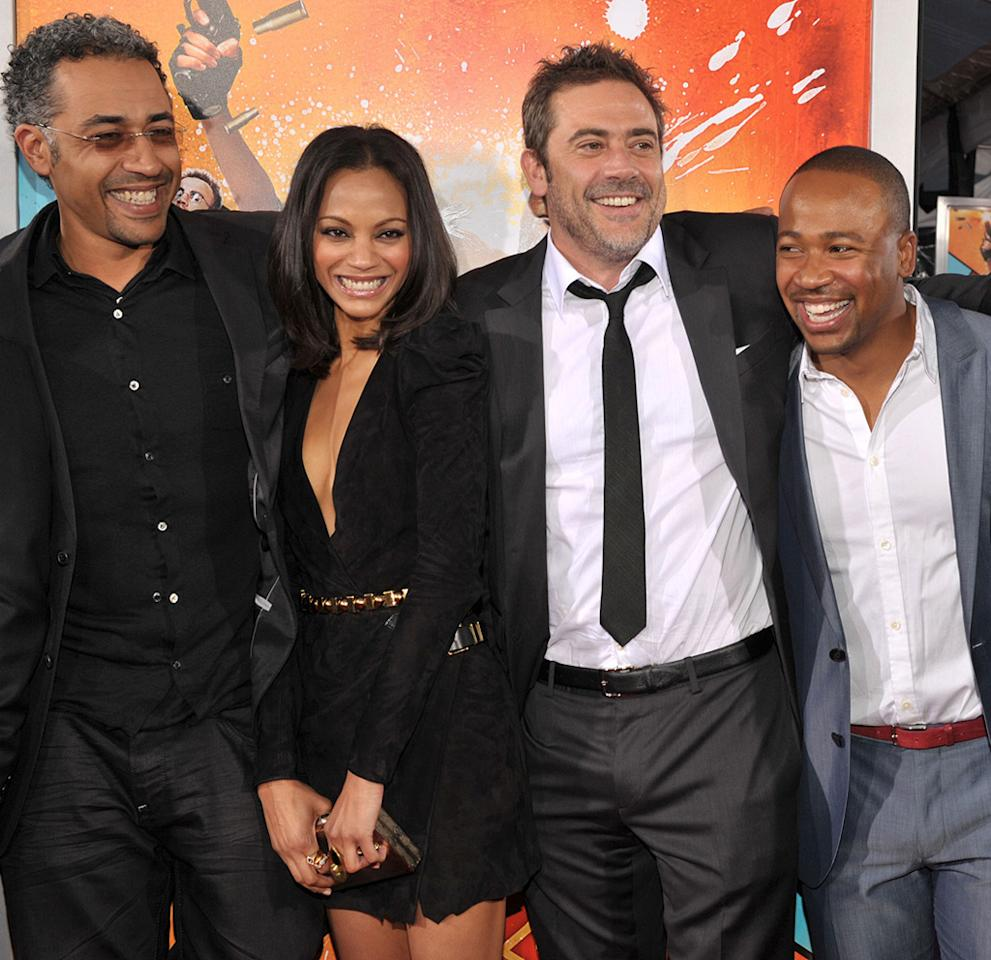 "<a href=""http://movies.yahoo.com/movie/contributor/1809139210"">Sylvain White</a>, <a href=""http://movies.yahoo.com/movie/contributor/1800362233"">Zoe Saldana</a>, <a href=""http://movies.yahoo.com/movie/contributor/1800162296"">Jeffrey Dean Morgan</a> and <a href=""http://movies.yahoo.com/movie/contributor/1809177013"">Columbus Short</a> at the Los Angeles premiere of <a href=""http://movies.yahoo.com/movie/1810096356/info"">The Losers</a> - 04/20/2010"