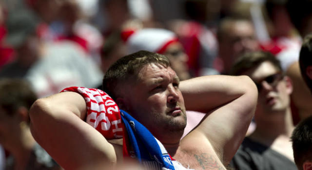 A Sheffield United fan watches during the game against Huddersfield Town during the League 1 Play-Off Final football match at Wembley Stadium in London on May 26, 2012. Huddersfield won 8-7 on penalties to win promotion to the Championship next season. AFP PHOTO / ADRIAN DENNISADRIAN DENNIS/AFP/GettyImages