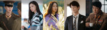 """This combination of images released by Netflix shows, from left, Hyun Bin, Seo Ji-hye, Son Ye-jin, Kim Jung-hyun and Oh Man-seok in scenes from the South Korean drama series """"Crash Landing on You."""" (Netflix via AP)"""