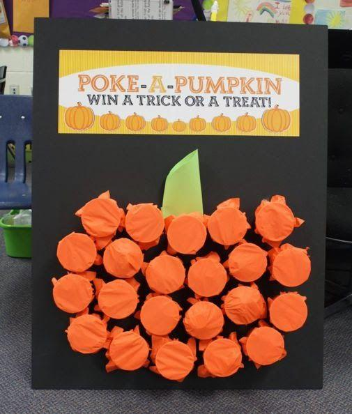 "<p>Keep the kids entertained with this mystery prize game. Fill plastic cups with little trinkets, then cover with orange tissue paper and glue to poster board in the shape of a pumpkin. One by one, kids can poke a hole through the tissue paper and see what's inside.  </p><p><em><a href=""http://www.projectdenneler.com/2013/11/poke-pumpkin.html"" target=""_blank"">Get the tutorial at Project Denneler »</a></em></p><p><strong>RELATED: <a href=""https://www.goodhousekeeping.com/holidays/halloween-ideas/g565/halloween-party-ideas/"" target=""_blank"">60 Spooky Ideas for Your Best Halloween Party Ever</a></strong></p>"