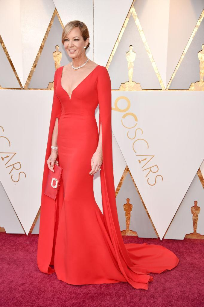 <p>Oscar favorite Allison Janney wowed in a Reem Acra gown, a look that that was a far cry from her portrayal of Tonya Harding's pathologically critical mom in <em>I, Tonya. </em>(Photo: Getty Images) </p>